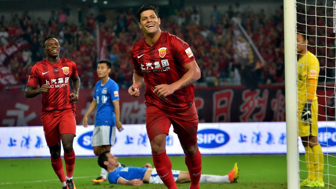 Brazilian striker Hulk moved from Russian side Zenit Saint Petersburg to Shanghai SIPG for a reported fee of $61 million. Here he celebrates bagging a goal against Henan Jianye, only to be carried off injured minutes later.