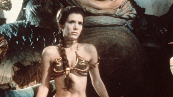 "Fisher stars in the film, ""Star Wars: Episode VI -- Return of the Jedi"" in 1983. The 'gold bikini' is one of her most famous costumes as Princess Leia. In addition to her acting career, Fisher -- who was diagnosed with bipolar disorder at age 24 -- has lobbied as an advocate for mental health awareness and treatment and has spoken before the California state Senate."