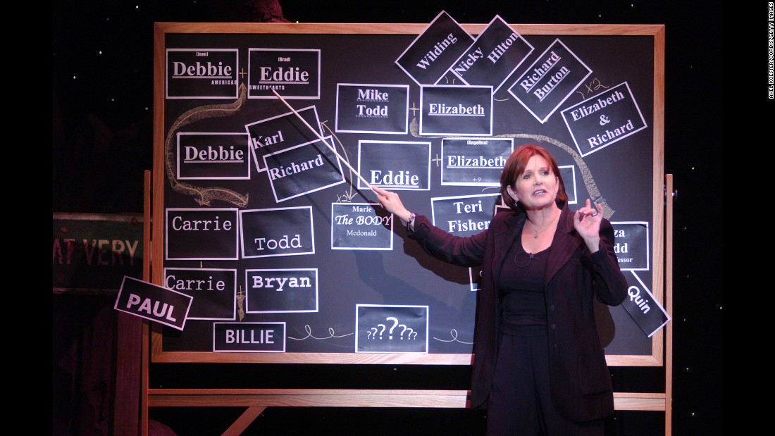 "Fisher takes part in a dress rehearsal for her play ""Wishful Drinking"" at the Geffen Playhouse in Los Angeles in 2006."