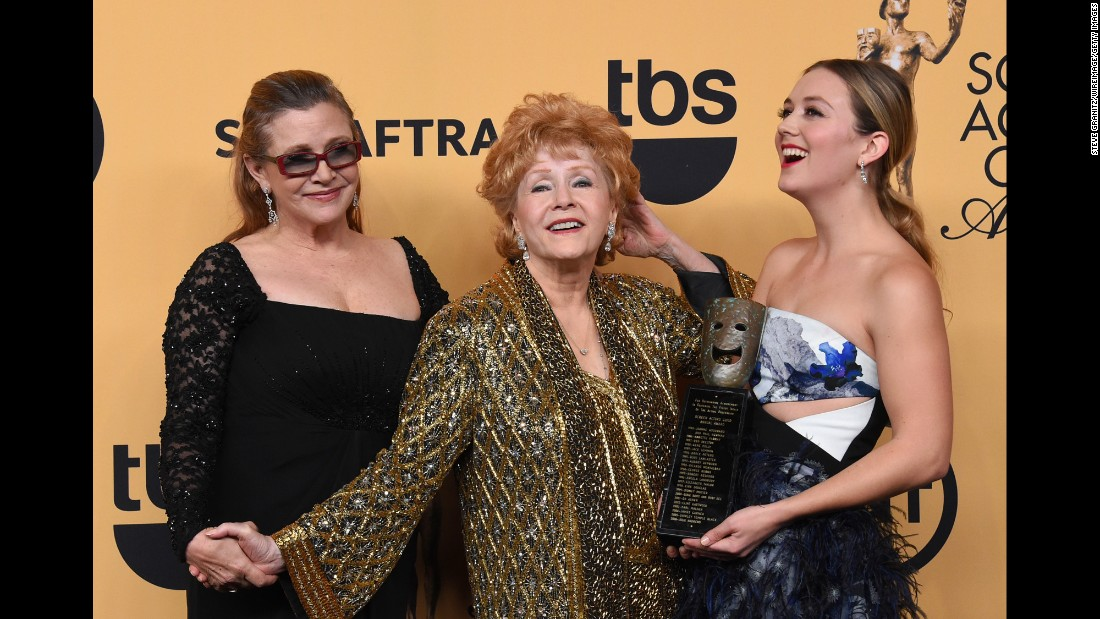 Fisher  poses with her mother Debbie Reynolds and daughter Billie Catherine Lourd at the 21st Annual Screen Actors Guild Awards in Los Angeles on January 25, 2015.