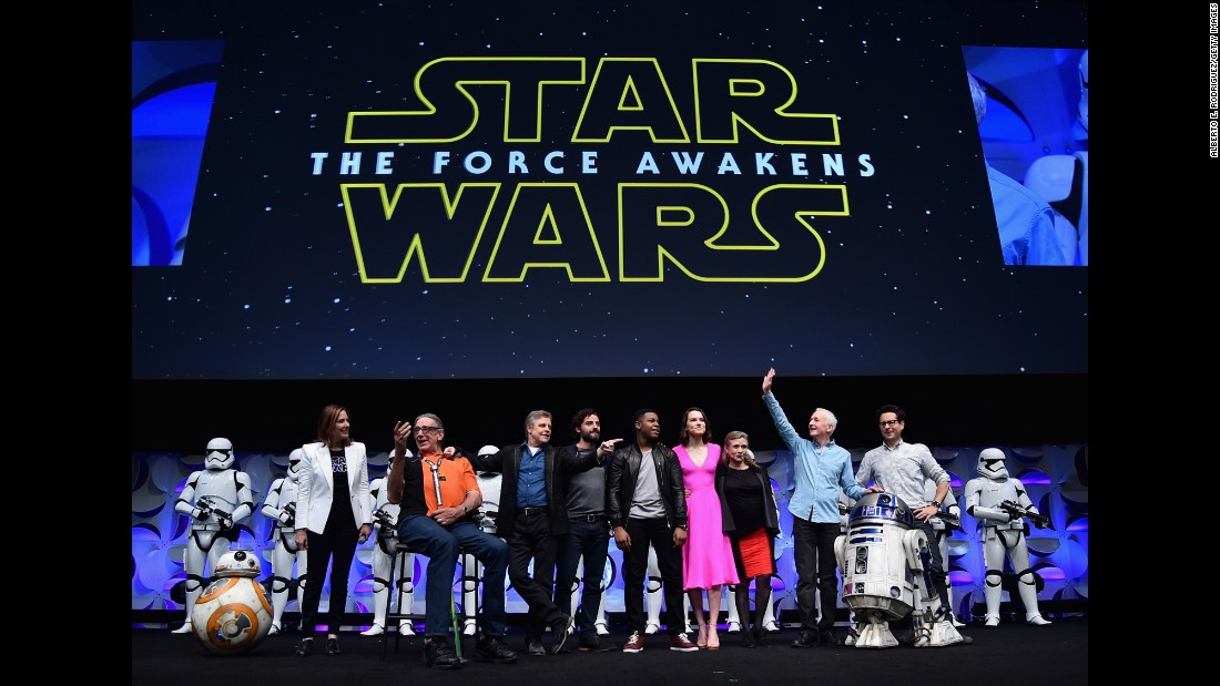 "Fisher takes part in a ""Star Wars"" celebration event on April 16, 2015, in Anaheim, California."