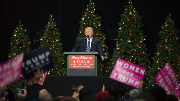 President-elect Donald Trump speaks at the USA Thank You Tour 2016 at the Wisconsin State Fair Exposition Center December 13, 2016 in West Allis, Wisconsin.