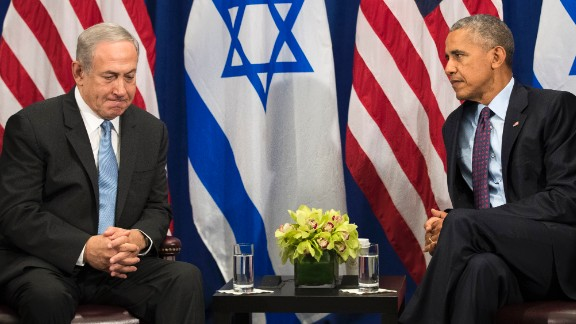 "NEW YORK, NEW YORK - SEPTEMBER 21: (L to R) Prime Minister of Israel Benjamin Netanyahu speaks to U.S. President Barack Obama during a bilateral meeting at the Lotte New York Palace Hotel, September 21, 2016 in New York City. Last week, Israel and the United States agreed to a $38 billion, 10-year aid package for Israel. Obama is expected to discuss the need for a ""two-state solution"" for the Israeli-Palestinian conflict. (Pool Photo by Drew Angerer/Getty Images)"
