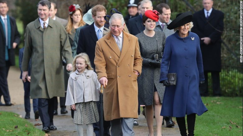 members of the royal family including prince harry prince charles and camilla duchess of