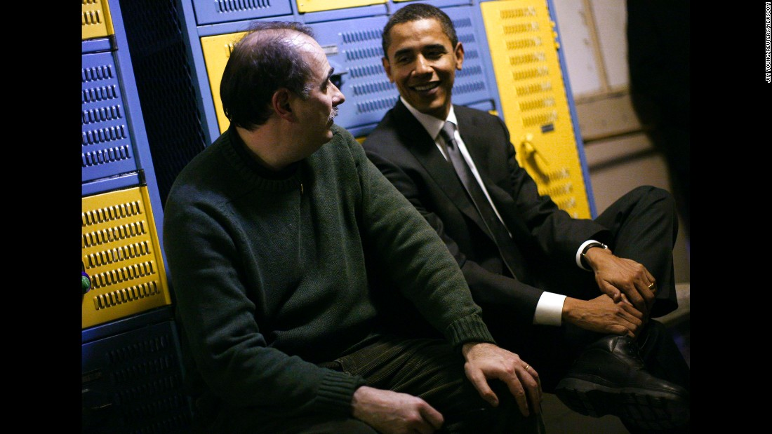 David Axelrod sits backstage with then-US Sen. Barack Obama during a 2007 campaign rally for Obama's presidential run. Axelrod, a senior political commentator for CNN, was a senior adviser for Obama during his presidency.