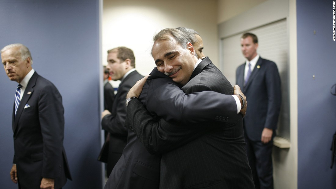 Obama and Axelrod hug at the 2008 Democratic National Convention, where Obama had officially received the party's nomination for president.