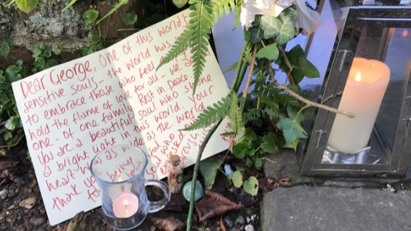 Flowers and letters have ben left by those visiting Michael