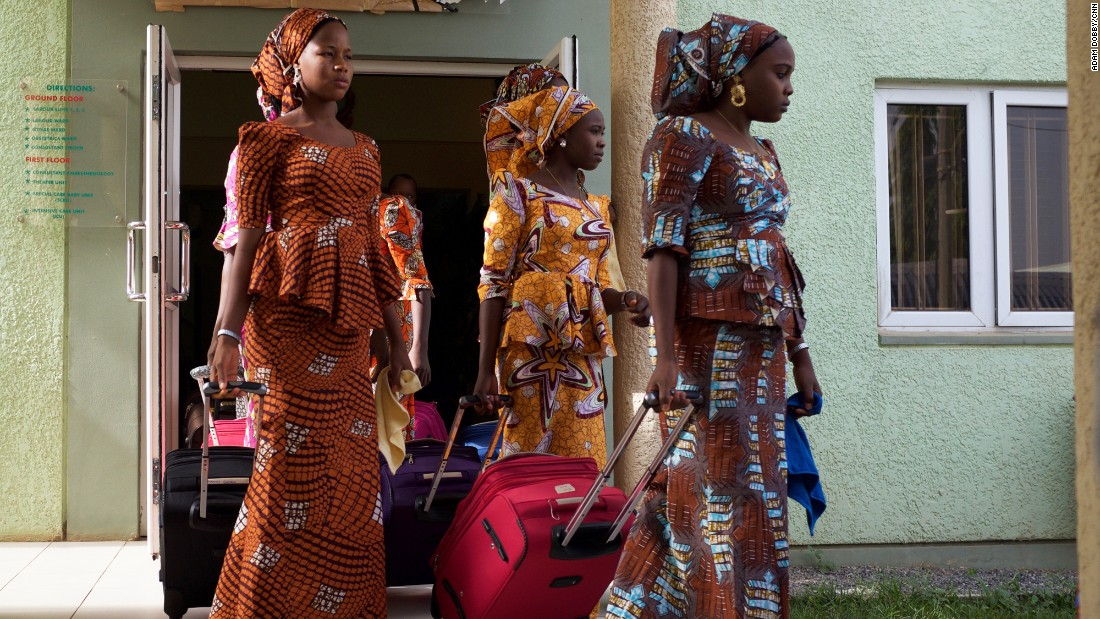 The girls leave accommodations in Abuja on Friday en route to the airport to begin the six-hour journey home to Chibok after being held captive by Boko Haram militants for nearly three years.<br /> <br />