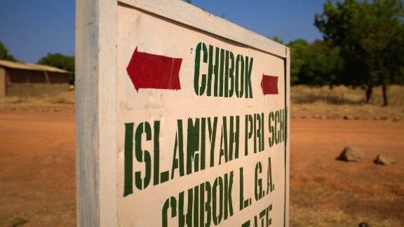 A sign on the outskirts of Chibok. The April 2014 kidnapping from a boarding school in the town sparked global outrage and fueled the social media campaign #BringBackOurGirls.