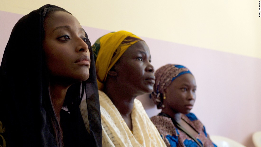 During the security briefing, CNN's Isha Sesay sits next to a mother of girl who has yet to be released by Boko Haram.  Close to 200 girls are still unaccounted for.