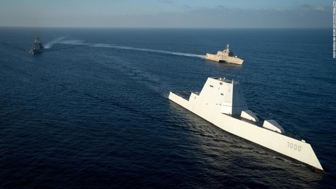 The US Navy's USS Zumwalt (DDG 1000) steams in formation with USS Independence (LCS 2) and USS Bunker Hill (CG 52) somewhere in the Pacific Ocean on Thursday, December 8. The USS Zumwalt was on the final leg of her three-month journey to her new home port in San Diego and is the Navy's most technologically advanced surface ship.
