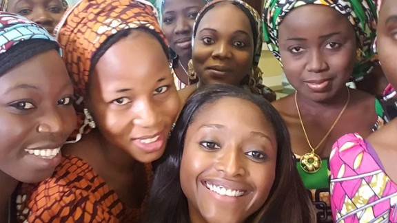 CNN's Isha Sesay takes a selfie with some of the freed Chibok girls.