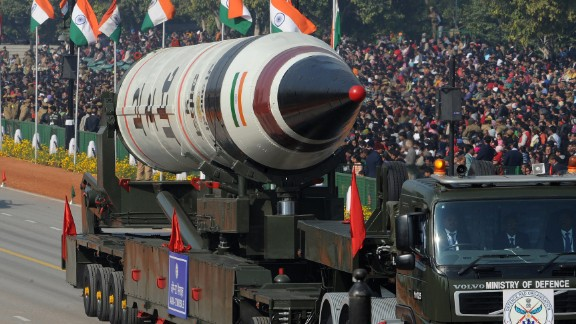 The Agni-V is displayed during the Republic Day parade in New Delhi on January 26, 2013.