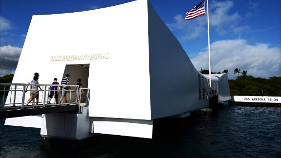 The USS Arizona Memorial in Hawaii marks the resting place of the crewmen killed on December 7, 1941, when Japanese Naval Forces bombed Pearl Harbor.