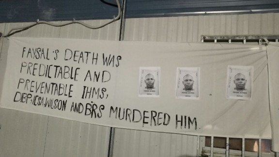 A banner put up at Delta Compound on Manus Island as part of a memorial service for Faysal Ishak Ahmed on Christmas night, according to refugee advocates
