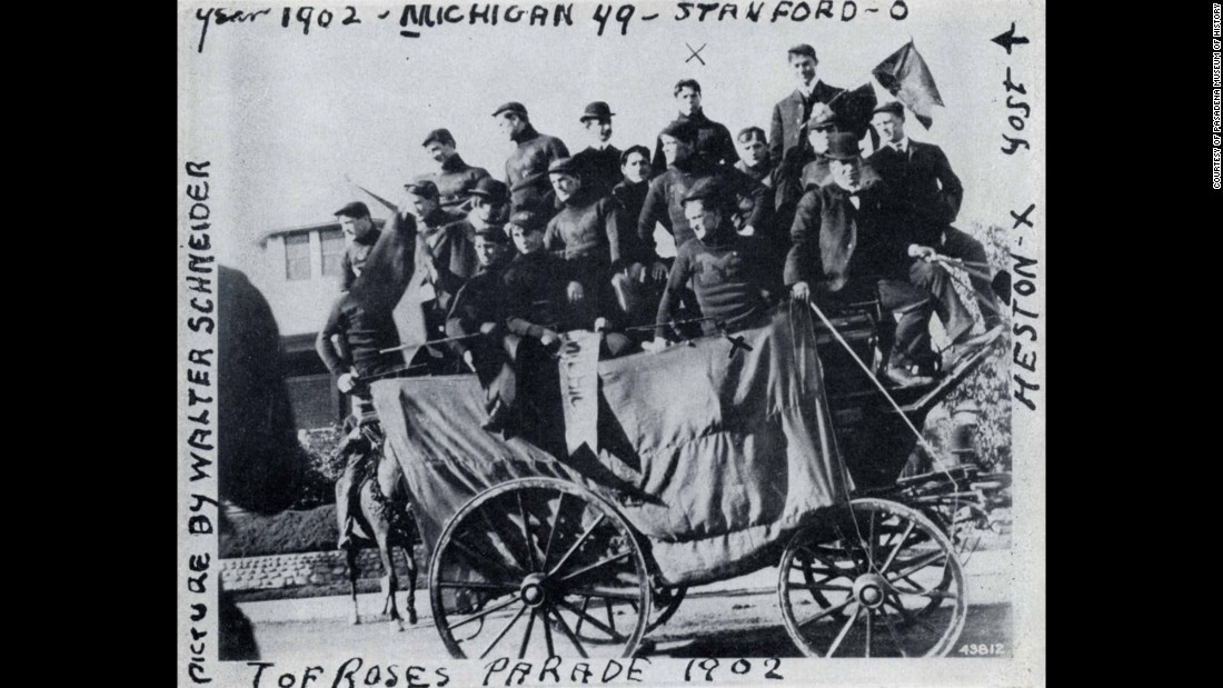 The first Rose Bowl Game was held at Tournament Park in 1902. University of Michigan competed against Stanford and defeated them 49-0. Here, the Michigan team rides in the 1902 parade.