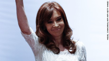 "Former Argentine president Cristina Kirchner waves during the conference ""The Political Struggle in Latin America Today"", in Sao Paulo, December 9, 2016. / AFP / Miguel SCHINCARIOL        (Photo credit should read MIGUEL SCHINCARIOL/AFP/Getty Images)"