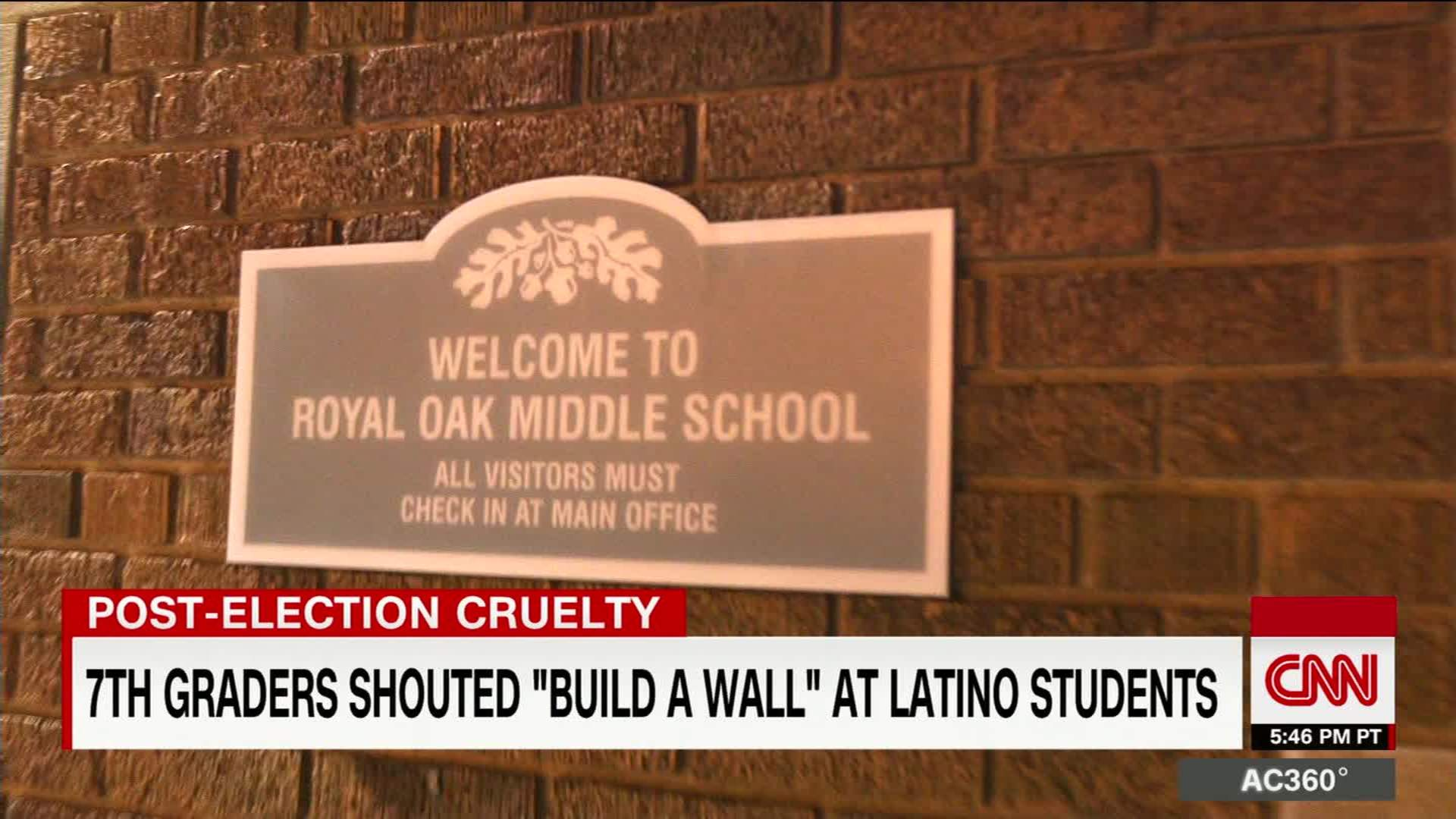 Watch Royal Oak Middle School students chanted build the wall video