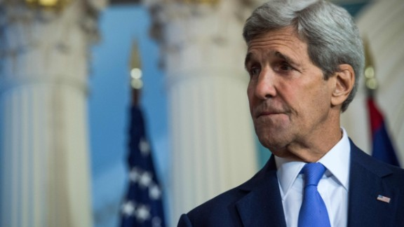 Secretary of State John Kerry speaks to the press at the State Department in Washington on September 17, 2015.