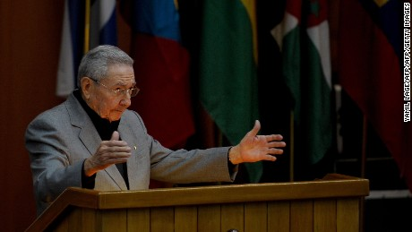Cuban President Raul Castro delivers a speech at the XII Anniversary of the Bolivarian Alliance for the Peoples of Our America (ALBA) at the Convention Palace in Havana, on December 14, 2016. / AFP / YAMIL LAGE        (Photo credit should read YAMIL LAGE/AFP/Getty Images)