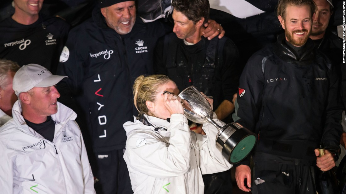 Unlike past years, Bell had just one celebrity member on his crew -- sports presenter Erin Molan (pictured with trophy) -- and he signed up half of the team involved with last year's American winner Comanche, which did not enter in 2016.