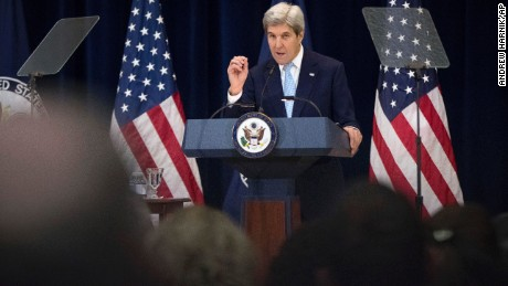 Secretary of State John Kerry speaks at the State Department, in Washington, Wednesday, Dec. 28, 2016.  Stepping into a raging diplomatic argument, Kerry staunchly defended the Obama administration's decision to allow the U.N. Security Council to declare Israeli settlements illegal and warned that Israel's very future as a democracy is at stake. (AP Photo/Andrew Harnik)