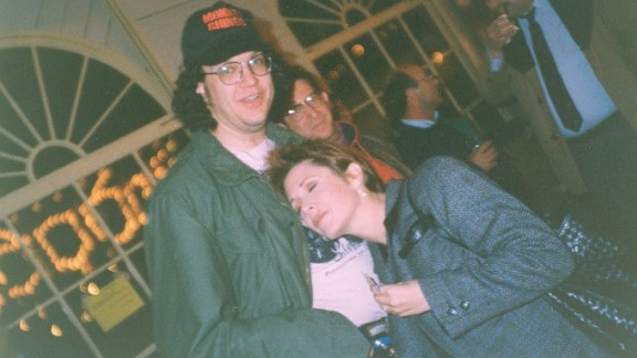 Penn Jillette and Carrie Fisher in 1990 at the Adult Video Awards in Santa Monica.