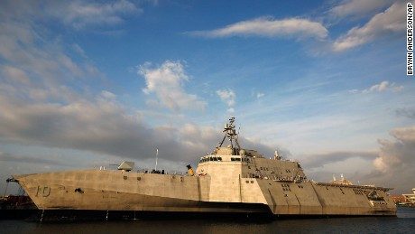 The USS Gabrielle Giffords, a Naval littoral combat ship built at the Austal USA shipyards, is docked on the Mobile River in Mobile, Ala.