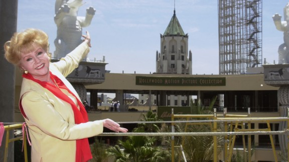 Debbie Reynolds in 2001 at the site of the new Hollywood Motion Picture Collection, where her $30 million motion picture costume collection would be housed.