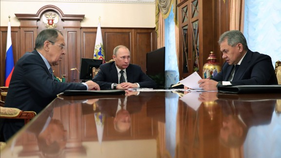 Russian President Vladimir Putin announced the Syrian ceasesfire in a meeting with Defense Minister Sergei Shoigu and Foreign Minister Sergei Lavrov at the Kremlin.