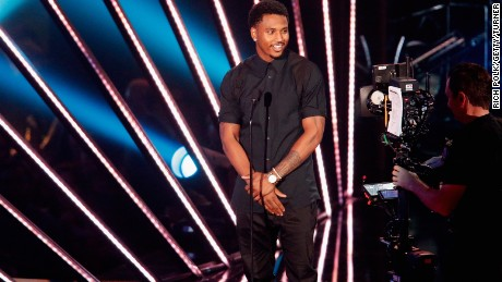 Trey Songz speaks onstage during the iHeartRadio Music Awards at The Forum in 2016.