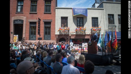 Mayor Bill de Blasio joins elected officials, advocates and New Yorkers in designating Stonewall Inn a national monument in June.