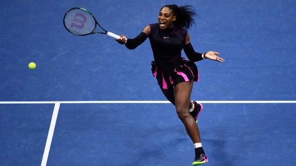 Williams sticks with black and pink during the 2016 US Open at the USTA Billie Jean King National Tennis Center in Flushing, New York.