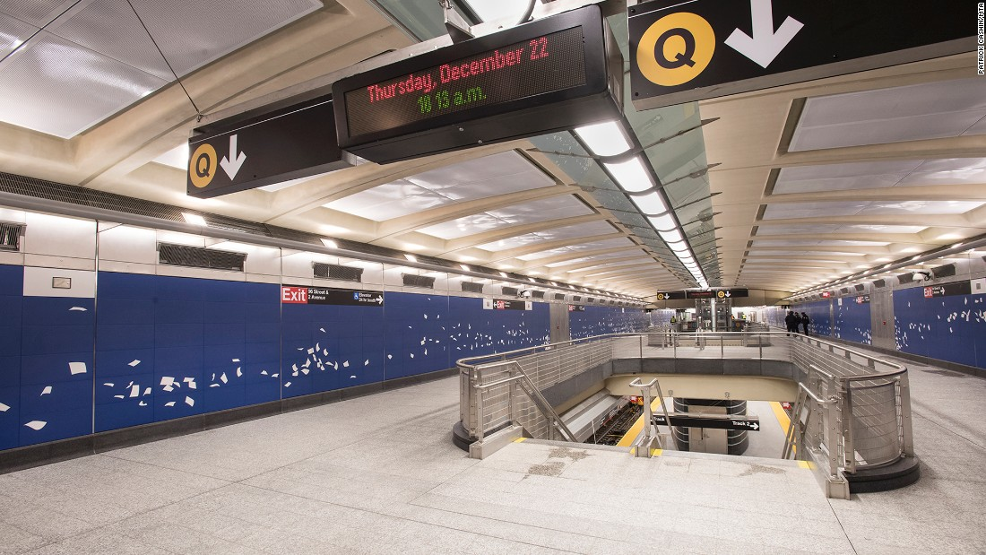 Three new stations will open between 72nd and 96th streets along Manhattan's Upper East Side -- accommodating 200,000 people a day, according to the Metropolitan Transportation Authority. Overcrowding on the heavily traveled 4, 5 and 6 lines nearby is expected to drop 13%.