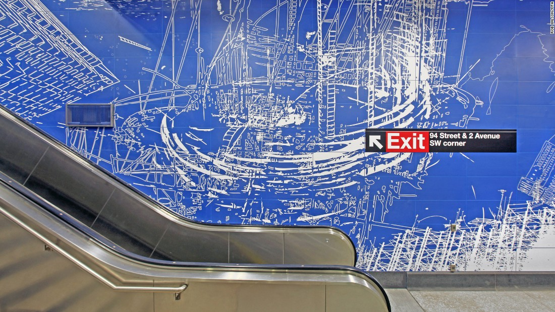 "The new stations together will house one of the largest public art installations in the state. Artist Sarah Sze's ""Blueprint for a Landscape"" is displayed at the 96th Street station. Other artists include Chuck Close, Vik Muniz and Jean Shin."
