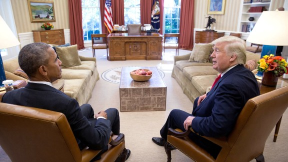 Two days after the election, the President meets with President-elect Donald Trump. (Official White House Photo by Pete Souza)
