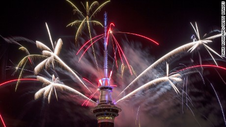 The SkyTower firework display during New Year's Eve celebrations on January 1, 2017 in Auckland, New Zealand.