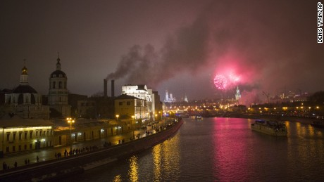 Russia, on a major gift-giving holiday,  welcomes 2017 with pyrotechnics over the Kremlin.