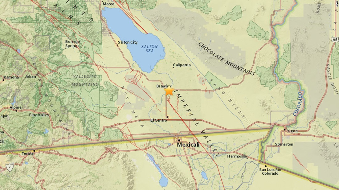 Brawley California Map.Brawley California Earthquake Swarm Rocks New Year S Cnn