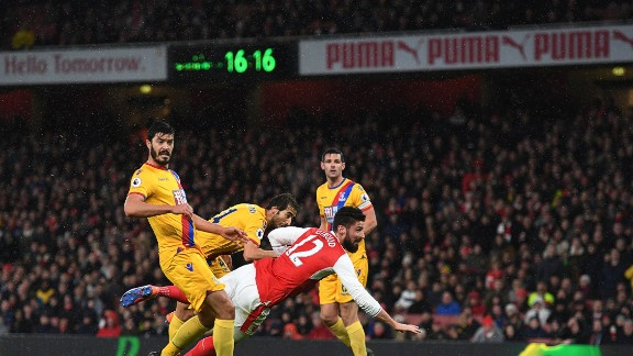 """Giroud's manager Arsene Wenger described his effort as a work of art.   """"It was an exceptional goal, because it was at the end of a fantastic collective movement ..."""" Wenger said.  """"After that, it was a reflex. Any goal-scorer is ready to take any part of his body, even if it's the little toe, to score a goal and Olivier had that kind of reflex. He transformed that goal, I would say, into art."""""""