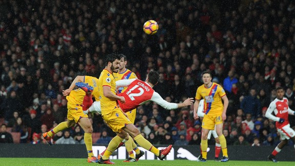 Giroud's acrobatic back heel came in the 17th minute of a 2-0 victory for Arsenal over Crystal Palace at the Emirates Stadium.