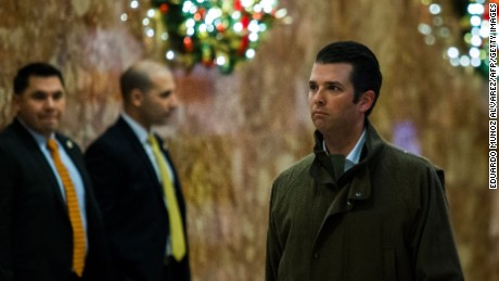 Donald Trump Jr. arrives at Trump Tower for meetings with President-elect Donald Trump on January 2, 2017 in New York. / AFP / Eduardo Munoz Alvarez        (Photo credit should read EDUARDO MUNOZ ALVAREZ/AFP/Getty Images)
