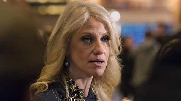 "Trump spokeswoman Kellyanne Conway talks to the press in the lobby of Trump Tower in New York on Thursday, December 15. Conway, who was Trump's campaign manager, will work in his administration as ""counselor to the president,"" it was announced on Thursday, December 22."