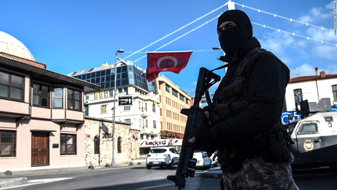 A Turkish special forces officer stands near the Reina nightclub on January 2. ISIS claimed responsibility for the attack in a statement posted to Twitter.