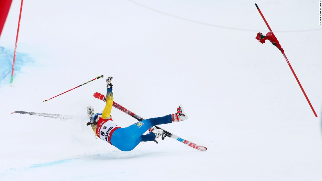 "Swedish skier Maria Pietila Holmner falls during a World Cup run in Semmering, Austria, on Tuesday, December 27. She was injured, but she will try to be back for the World Championships in February, <a href=""https://twitter.com/JennyModin/status/813801714893602816"" target=""_blank"">according to Swedish journalist Jenny Modin.</a>"