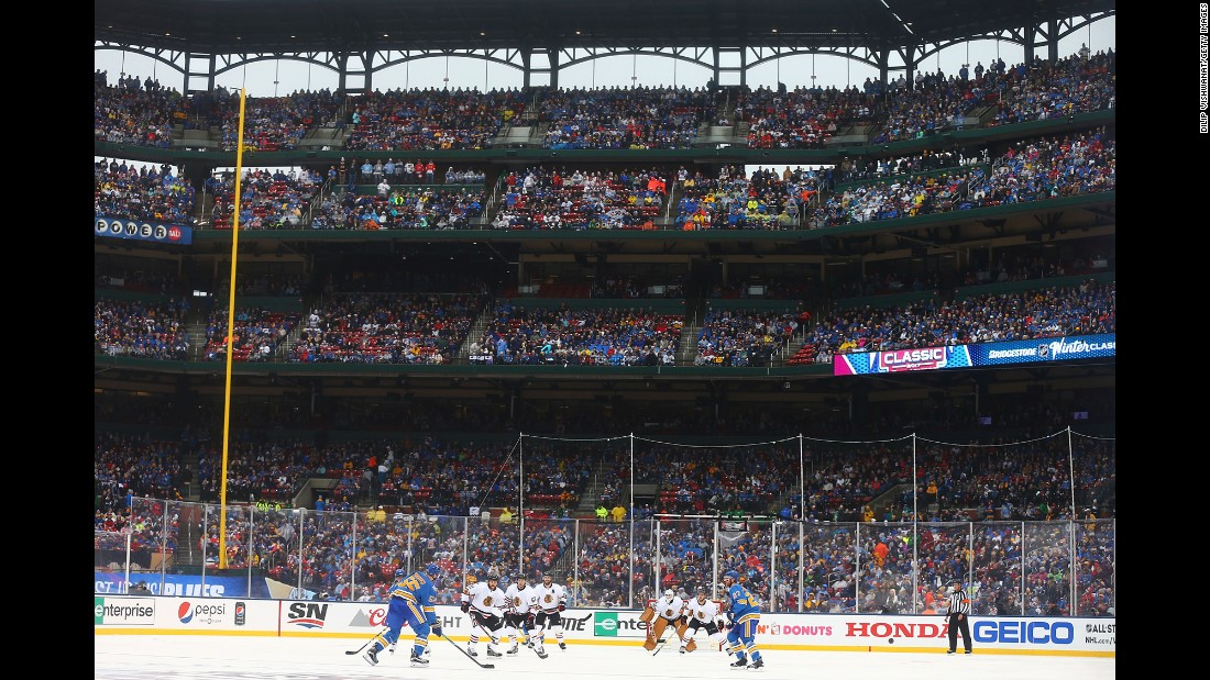 The St. Louis Blues and the Chicago Blackhawks play hockey in the annual Winter Classic on Monday, January 2. The Blues won 4-1 in the outdoor game, which was played at Busch Stadium, home of the St. Louis Cardinals baseball team.
