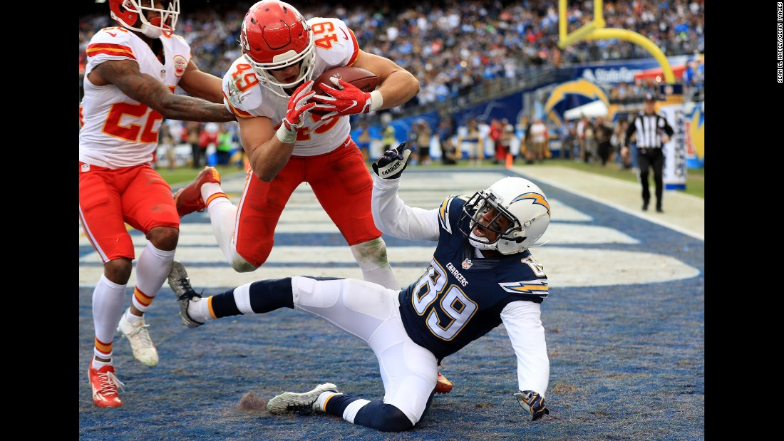 Kansas City safety Daniel Sorensen intercepts a pass during an NFL game in San Diego on Sunday, January 1. Kansas City won 37-27 and clinched the AFC West title with Oakland losing to Denver.