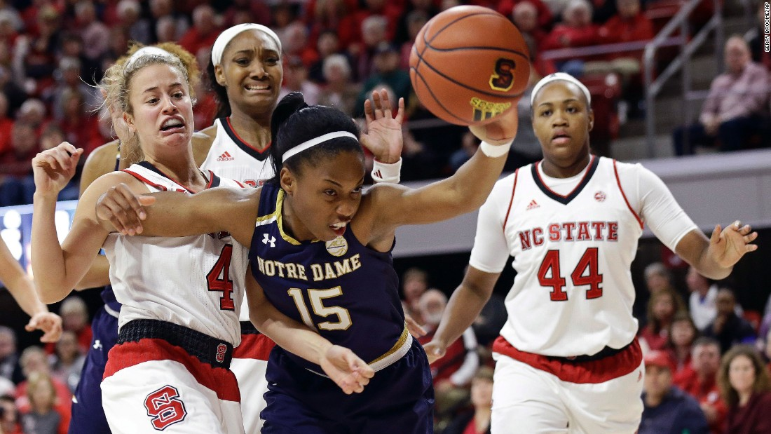 Notre Dame's Lindsay Allen reaches for a loose ball during a game at North Carolina State on Thursday, December 29. Allen and the Fighting Irish were upset 70-62. It was just their second ACC loss since joining the conference in 2013.