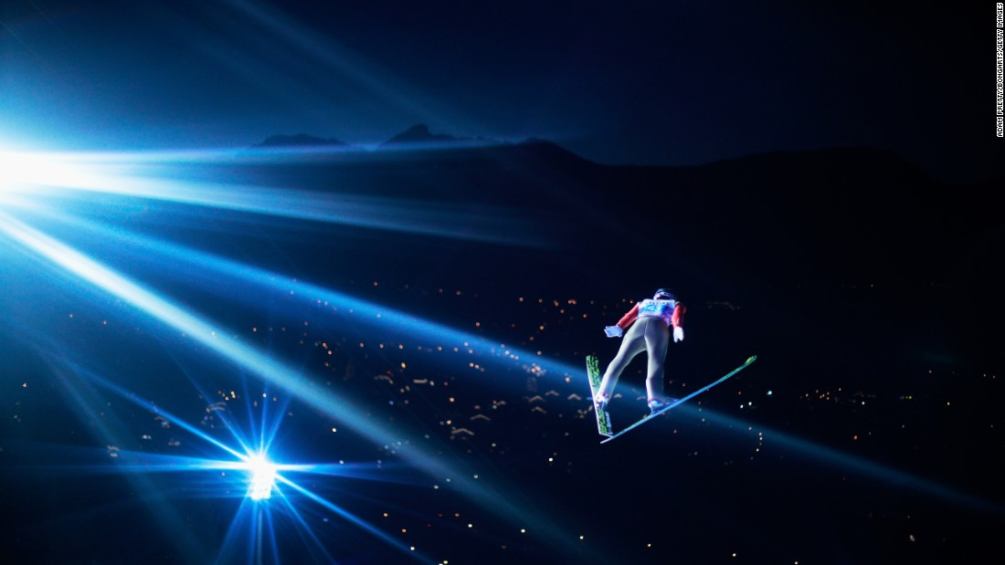 Japanese ski jumper Taku Takeuchi soars through the air while competing in the Four Hills Tournament in Oberstdorf, Germany, on Friday, December 30.