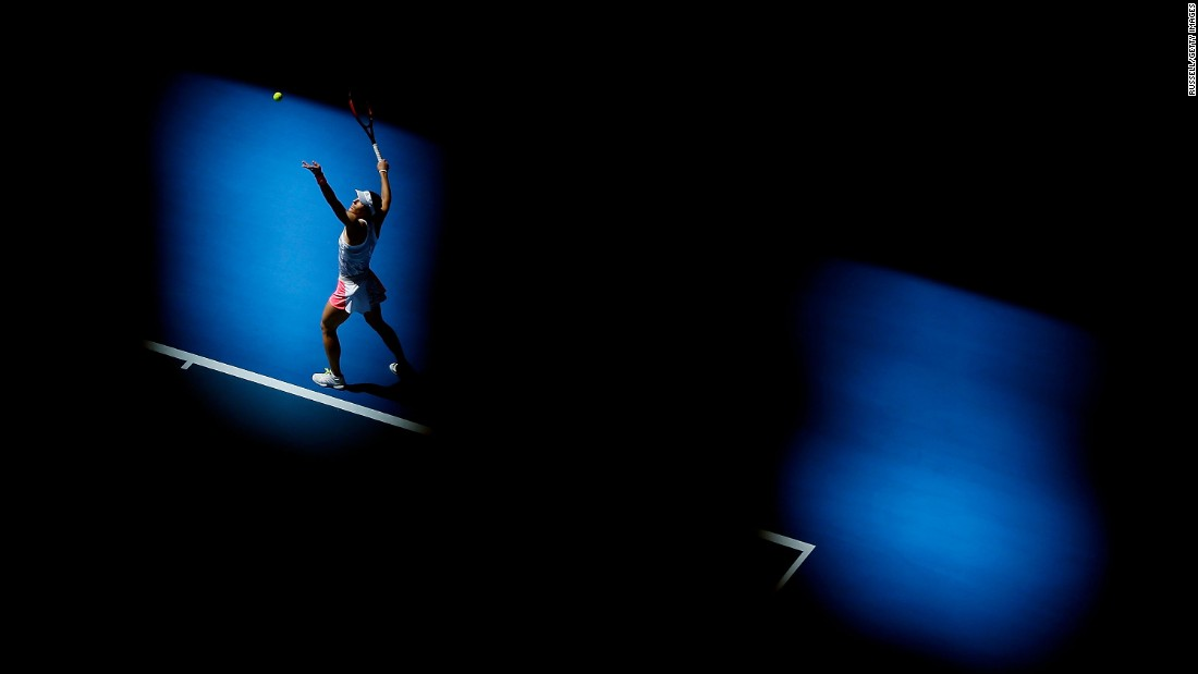 German tennis player Andrea Petkovic serves during a Hopman Cup match against France's Kristina Mladenovic on Monday, January 2. Petkovic defeated Mladenovic but France won 2-1.